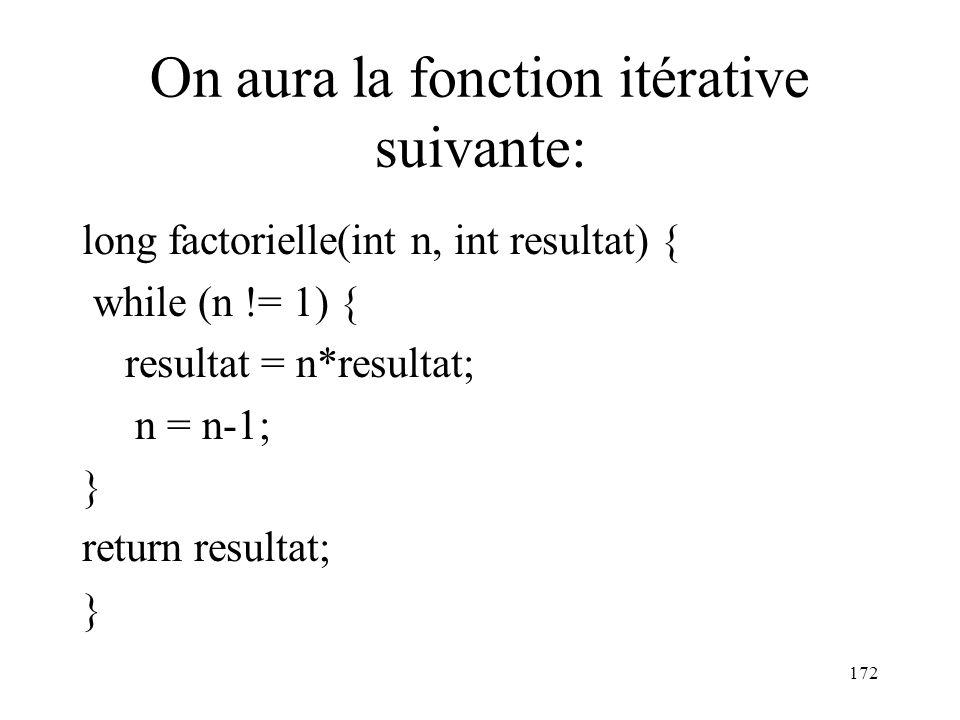 On aura la fonction itérative suivante: long factorielle(int n, int resultat) { while (n != 1) { resultat = n*resultat; n = n-1; } return resultat; }