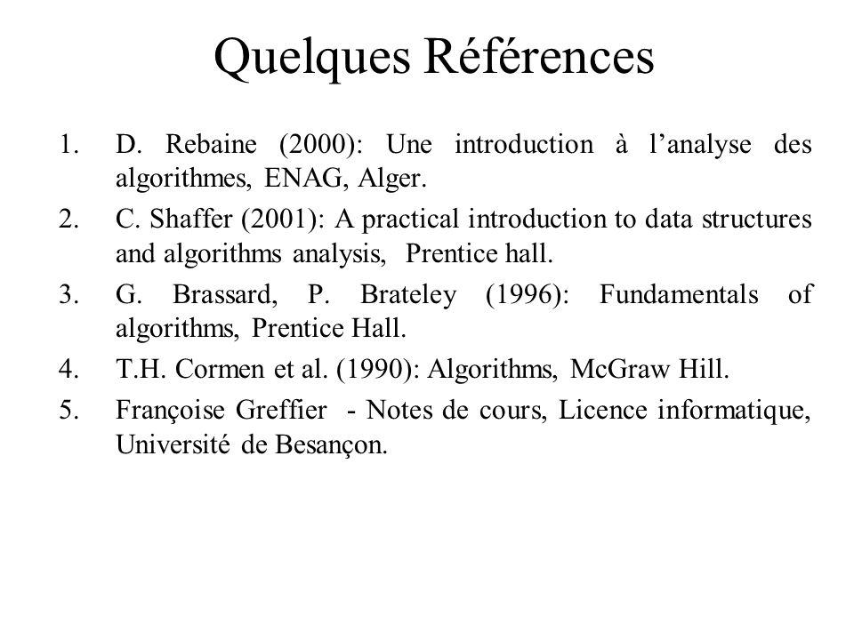 Quelques Références 1.D. Rebaine (2000): Une introduction à lanalyse des algorithmes, ENAG, Alger. 2.C. Shaffer (2001): A practical introduction to da
