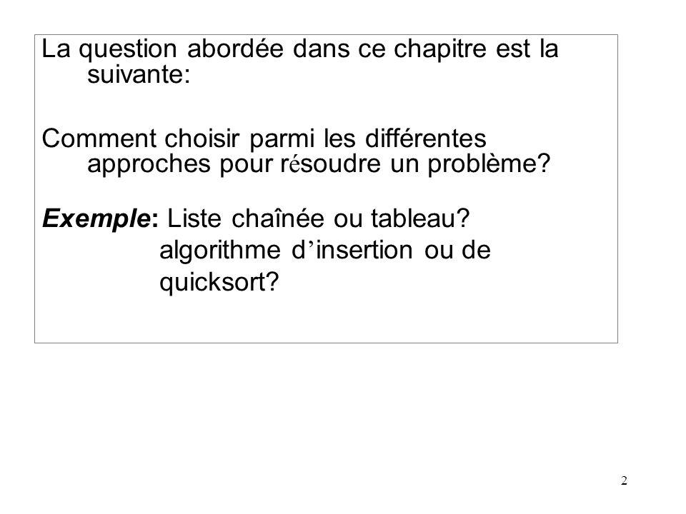2 La question abordée dans ce chapitre est la suivante: Comment choisir parmi les différentes approches pour r é soudre un problème? Exemple: Liste ch