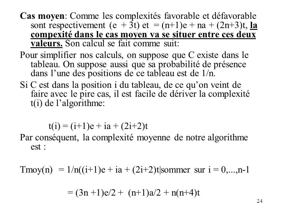 24 Cas moyen: Comme les complexités favorable et défavorable sont respectivement (e + 3t) et = (n+1)e + na + (2n+3)t, la compexité dans le cas moyen v