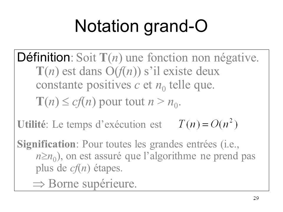 29 Notation grand-O La notation grand-O indique une borne sup é rieure sur le temps d ex é cution. Exemple: Si T(n) = 3n 2 +2 alors T(n) O(n 2 ). On d