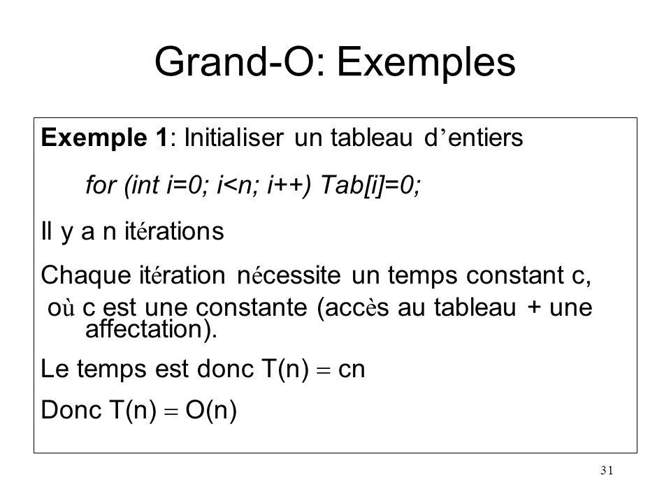 31 Grand-O: Exemples Exemple 1: Initialiser un tableau d entiers for (int i=0; i<n; i++) Tab[i]=0; Il y a n it é rations Chaque it é ration n é cessit