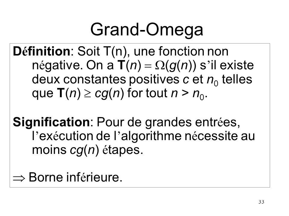 33 Grand-Omega D é finition: Soit T(n), une fonction non n é gative. On a T(n) (g(n)) s il existe deux constantes positives c et n 0 telles que T(n) c