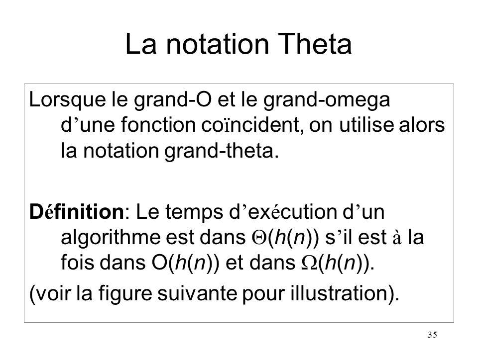 35 La notation Theta Lorsque le grand-O et le grand-omega d une fonction co ï ncident, on utilise alors la notation grand-theta. D é finition: Le temp
