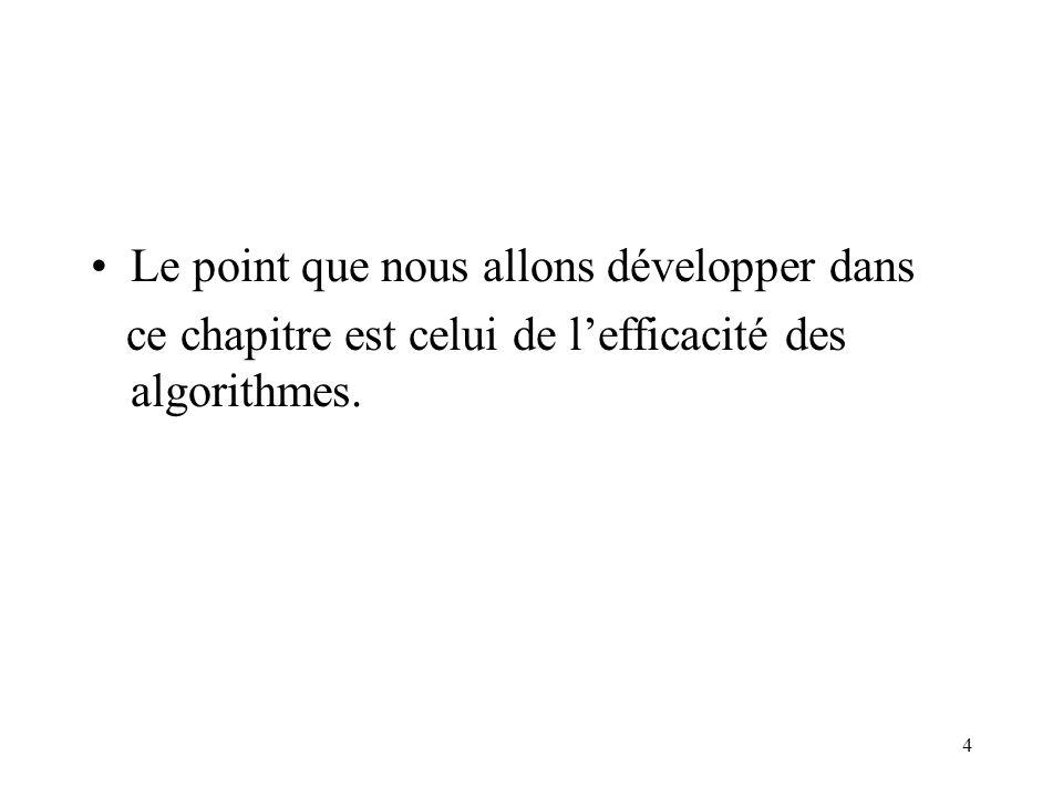 4 Le point que nous allons développer dans ce chapitre est celui de lefficacité des algorithmes.