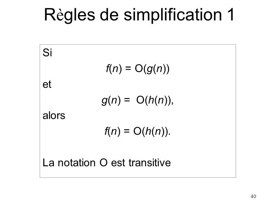 40 R è gles de simplification 1 Si f(n) = O(g(n)) et g(n) = O(h(n)), alors f(n) = O(h(n)). La notation O est transitive