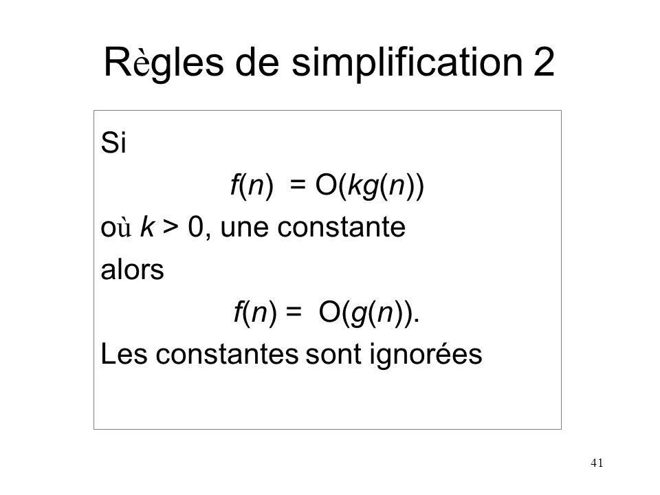 41 R è gles de simplification 2 Si f(n) = O(kg(n)) o ù k > 0, une constante alors f(n) = O(g(n)). Les constantes sont ignorées