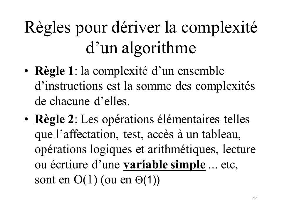 44 Règles pour dériver la complexité dun algorithme Règle 1: la complexité dun ensemble dinstructions est la somme des complexités de chacune delles.