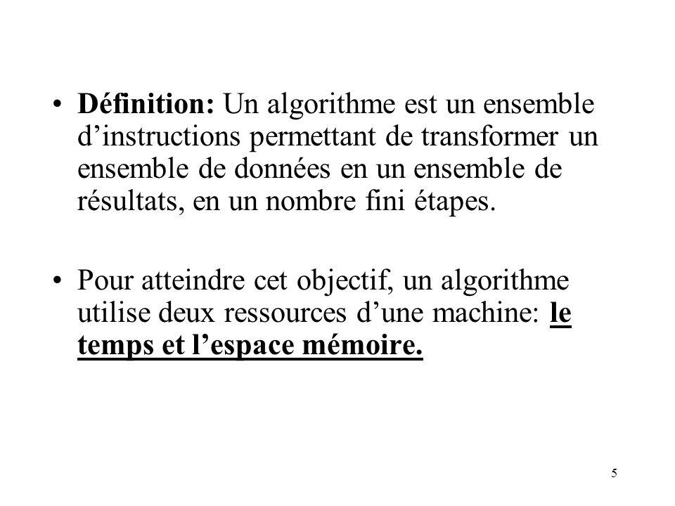 5 Définition: Un algorithme est un ensemble dinstructions permettant de transformer un ensemble de données en un ensemble de résultats, en un nombre f