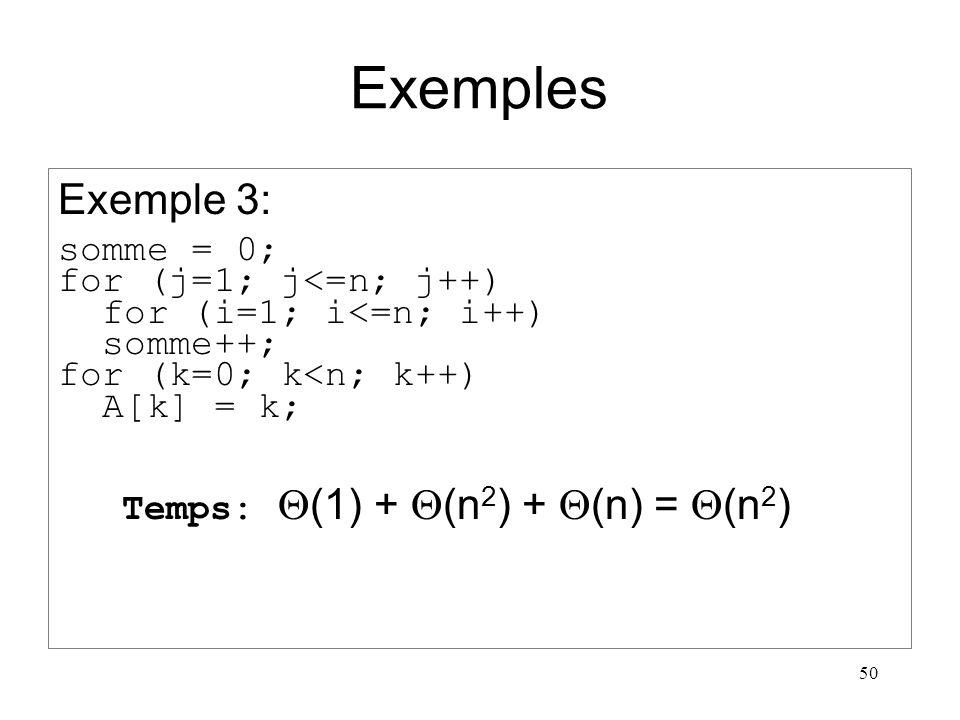 50 Exemples Exemple 3: somme = 0; for (j=1; j<=n; j++) for (i=1; i<=n; i++) somme++; for (k=0; k<n; k++) A[k] = k; Temps: (1) + (n 2 ) + (n) = (n 2 )