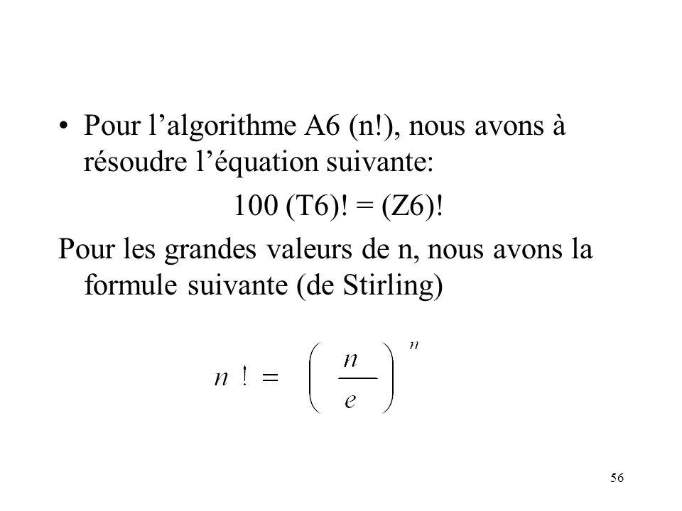 56 Pour lalgorithme A6 (n!), nous avons à résoudre léquation suivante: 100 (T6)! = (Z6)! Pour les grandes valeurs de n, nous avons la formule suivante