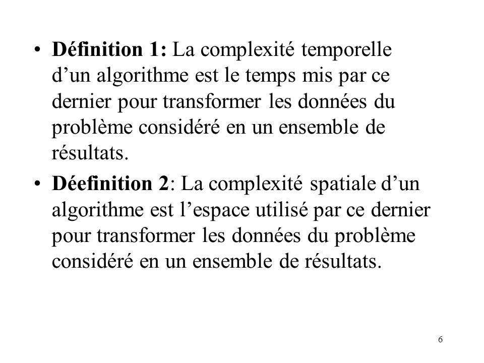 6 Définition 1: La complexité temporelle dun algorithme est le temps mis par ce dernier pour transformer les données du problème considéré en un ensem