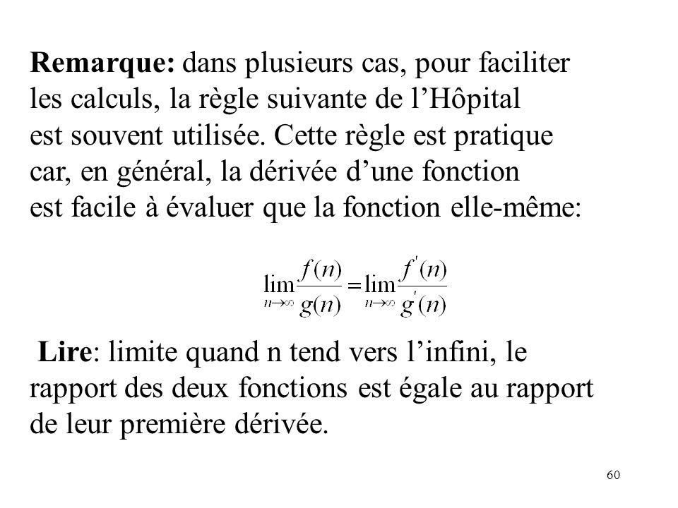 60 Remarque: dans plusieurs cas, pour faciliter les calculs, la règle suivante de lHôpital est souvent utilisée. Cette règle est pratique car, en géné