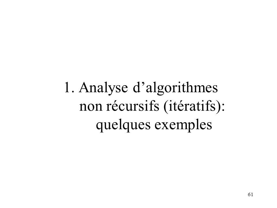 61 1. Analyse dalgorithmes non récursifs (itératifs): quelques exemples
