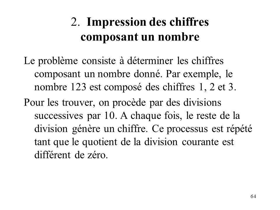 64 2. Impression des chiffres composant un nombre Le problème consiste à déterminer les chiffres composant un nombre donné. Par exemple, le nombre 123