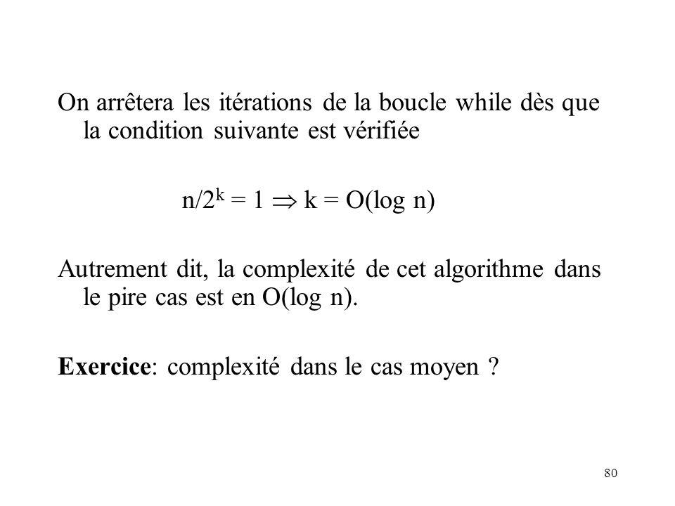 80 On arrêtera les itérations de la boucle while dès que la condition suivante est vérifiée n/2 k = 1 k = O(log n) Autrement dit, la complexité de cet