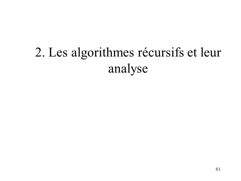 81 2. Les algorithmes récursifs et leur analyse