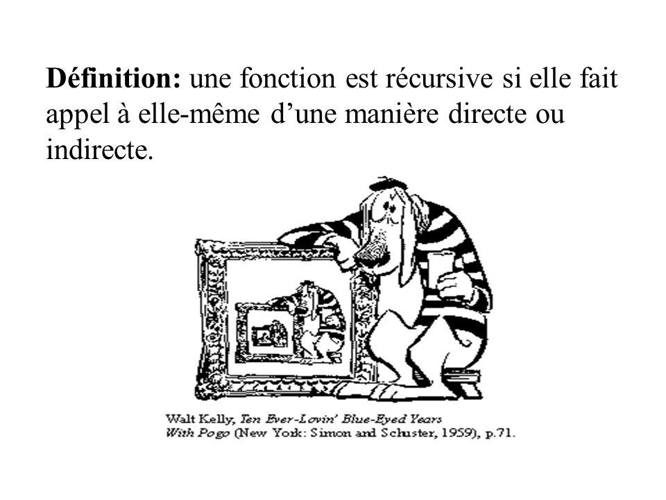 Définition: une fonction est récursive si elle fait appel à elle-même dune manière directe ou indirecte.