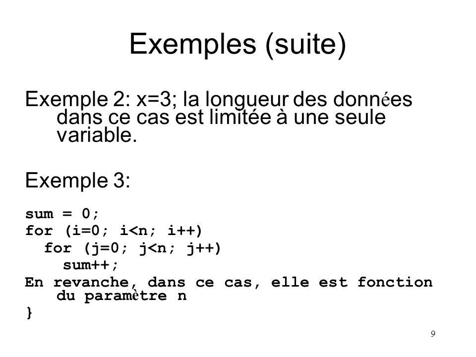 9 Exemples (suite) Exemple 2: x=3; la longueur des donn é es dans ce cas est limitée à une seule variable. Exemple 3: sum = 0; for (i=0; i<n; i++) for