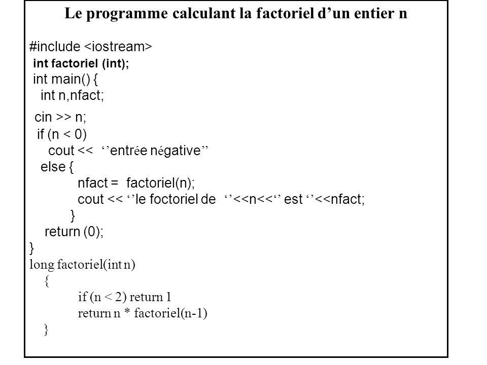 Le programme calculant la factoriel dun entier n #include int factoriel (int); int main() { int n,nfact; cin >> n; if (n < 0) cout << entr é e n é gat