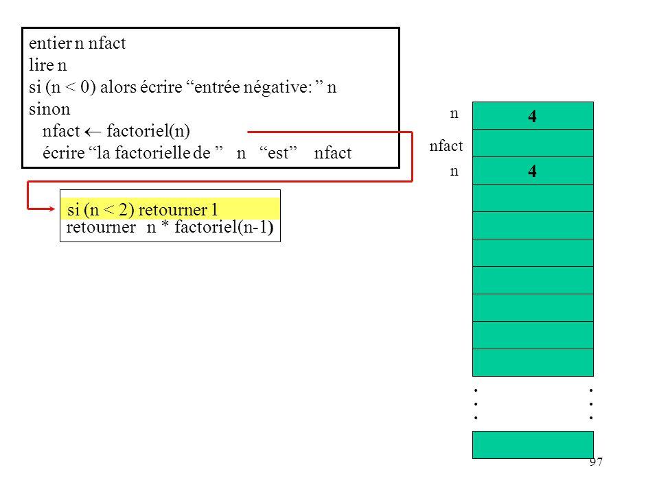 97 entier n nfact lire n si (n < 0) alors écrire entrée négative: n sinon nfact factoriel(n) écrire la factorielle de n est nfact............ 4 4 n nf