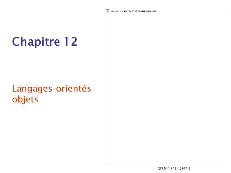 1-12 Exclusivité des objets Tout est un objet –Avantages - élégance et uniformité –Désavantages - Ralenti les opérations sur les types élémentaires Ajouter les objets à un système de typage impératif –Avantages - Opérations rapides sur les types conventionnels –Désavantages - Perte de lisibilité (2 sortes d entités) Système de typage impératif pour les types élémentaires; tout le reste est objet –Avantage - Les opérations sur les types élémentaires (les plus utilisés) sont rapides –Désavantage - Toujours un peu de confusion à cause des deux système de typage.