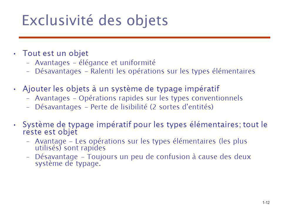 1-12 Exclusivité des objets Tout est un objet –Avantages - élégance et uniformité –Désavantages - Ralenti les opérations sur les types élémentaires Aj