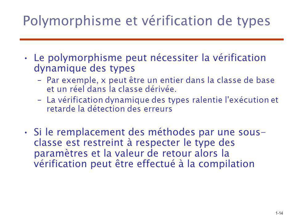 1-14 Polymorphisme et vérification de types Le polymorphisme peut nécessiter la vérification dynamique des types –Par exemple, x peut être un entier d