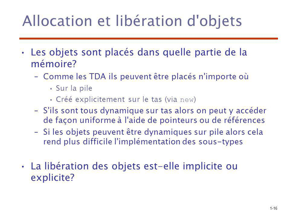 1-16 Allocation et libération d'objets Les objets sont placés dans quelle partie de la mémoire? –Comme les TDA ils peuvent être placés n'importe où Su