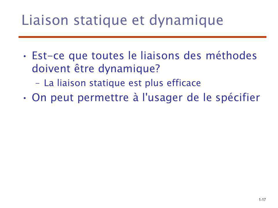 1-17 Liaison statique et dynamique Est-ce que toutes le liaisons des méthodes doivent être dynamique? –La liaison statique est plus efficace On peut p