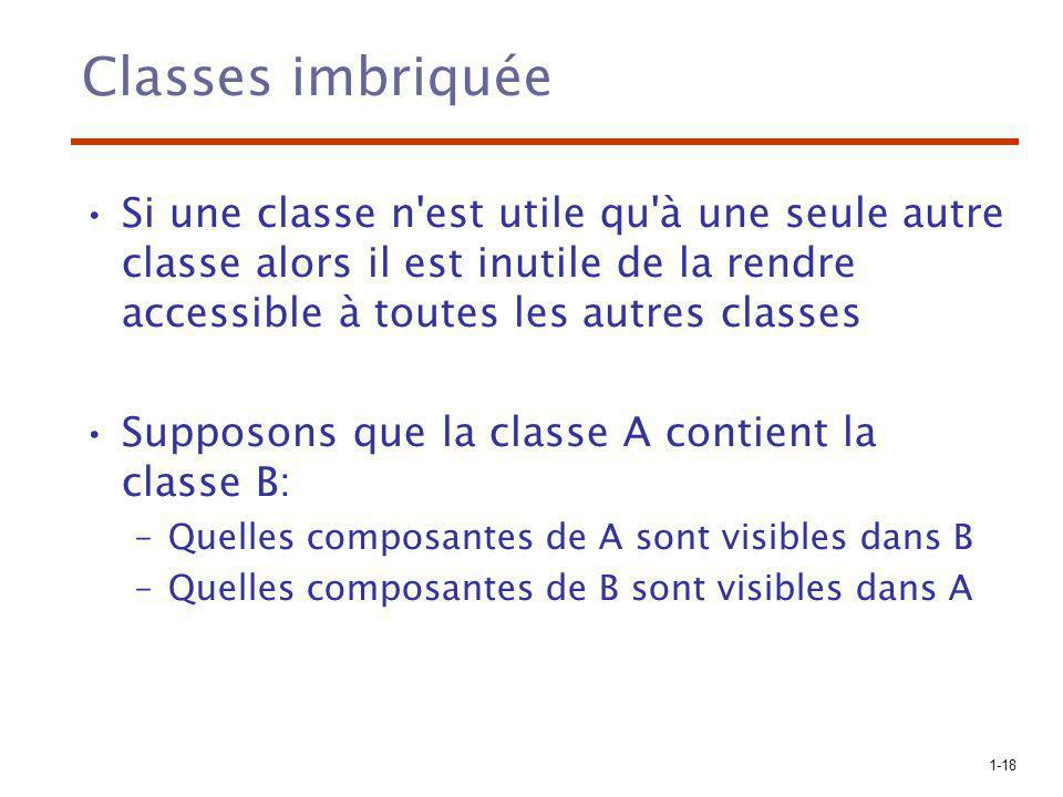 1-18 Classes imbriquée Si une classe n'est utile qu'à une seule autre classe alors il est inutile de la rendre accessible à toutes les autres classes