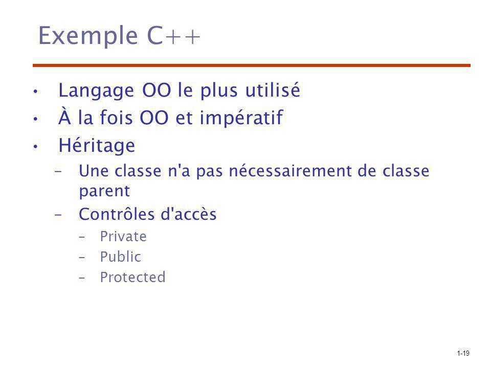 1-19 Exemple C++ Langage OO le plus utilisé À la fois OO et impératif Héritage –Une classe n'a pas nécessairement de classe parent –Contrôles d'accès