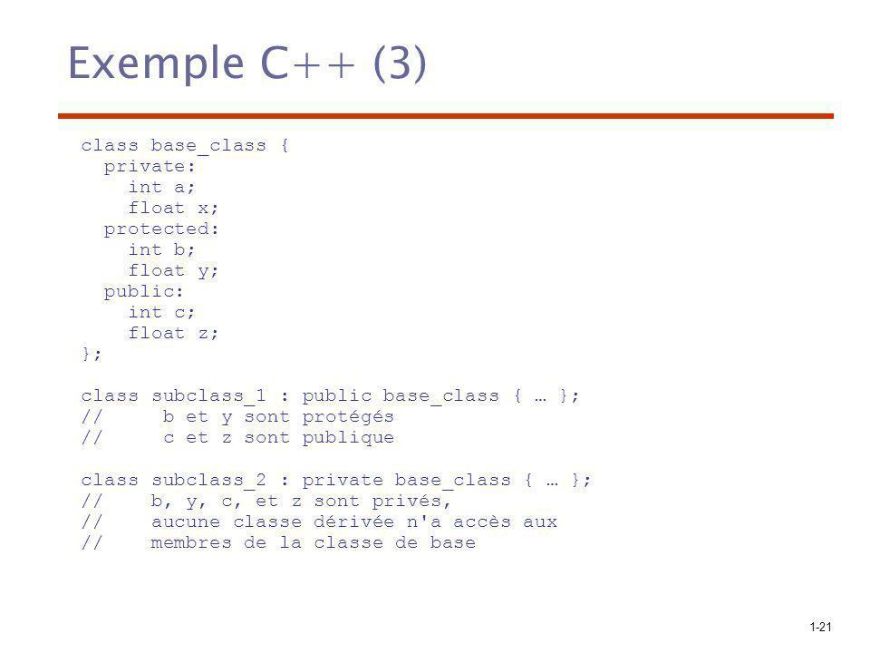 1-21 Exemple C++ (3) class base_class { private: int a; float x; protected: int b; float y; public: int c; float z; }; class subclass_1 : public base_