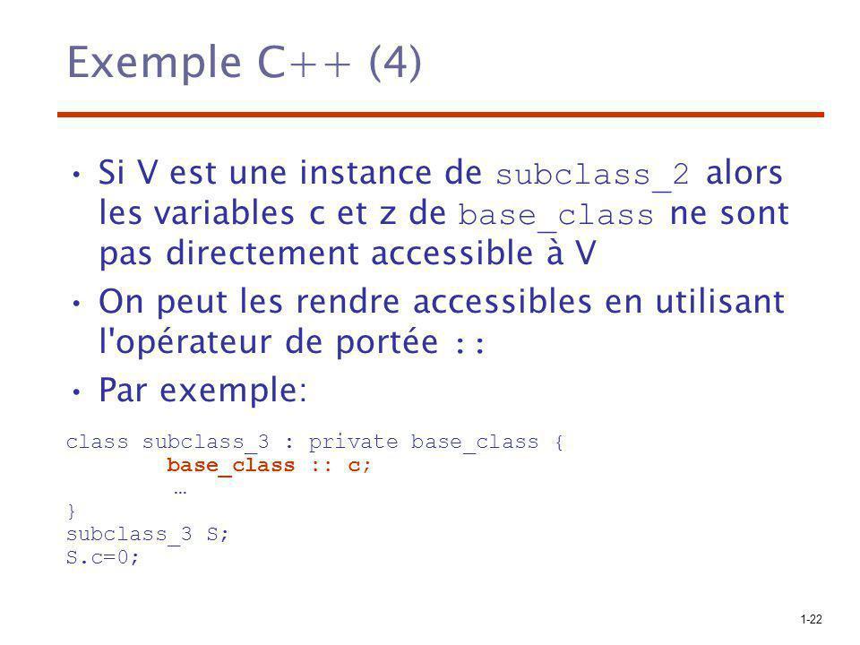 1-22 Exemple C++ (4) Si V est une instance de subclass_2 alors les variables c et z de base_class ne sont pas directement accessible à V On peut les r