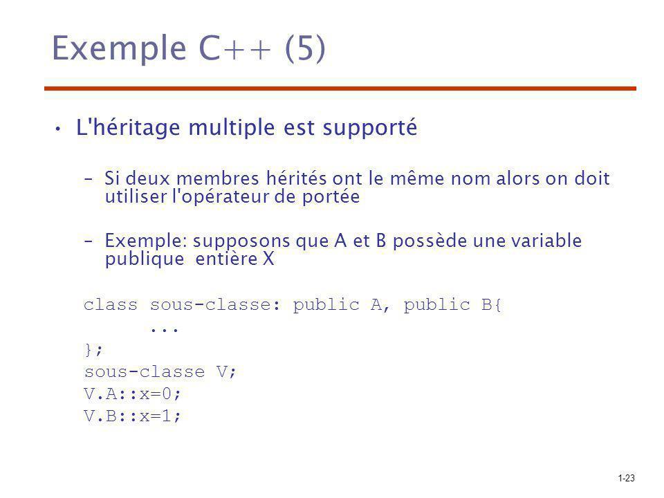 1-23 Exemple C++ (5) L'héritage multiple est supporté –Si deux membres hérités ont le même nom alors on doit utiliser l'opérateur de portée –Exemple:
