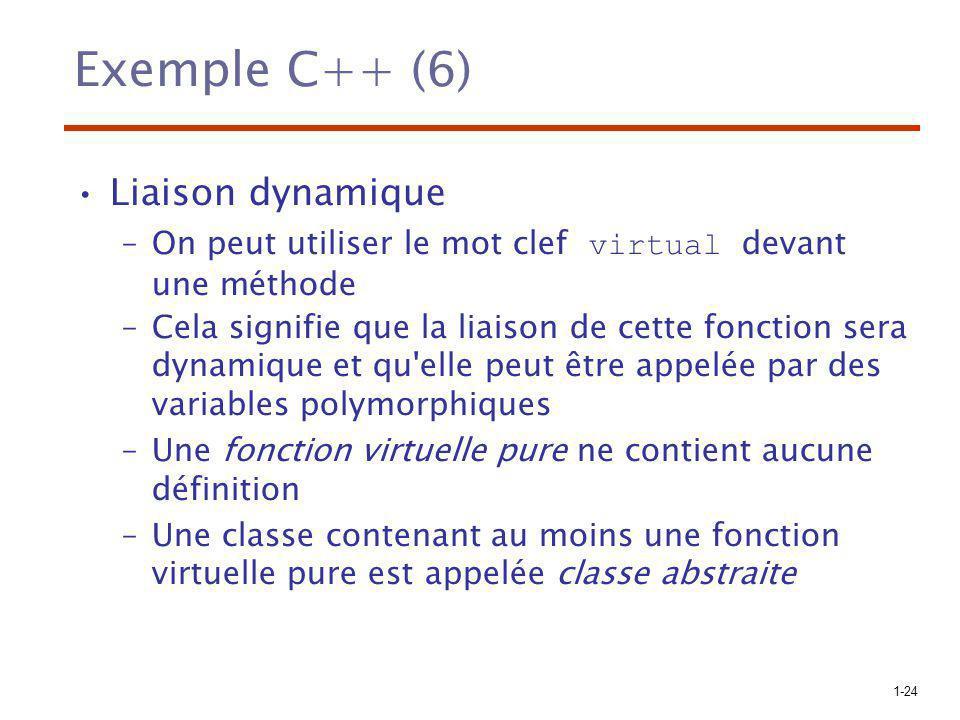 1-24 Exemple C++ (6) Liaison dynamique –On peut utiliser le mot clef virtual devant une méthode –Cela signifie que la liaison de cette fonction sera d