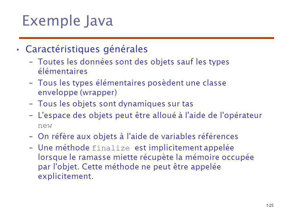 1-25 Exemple Java Caractéristiques générales –Toutes les données sont des objets sauf les types élémentaires –Tous les types élémentaires posèdent une