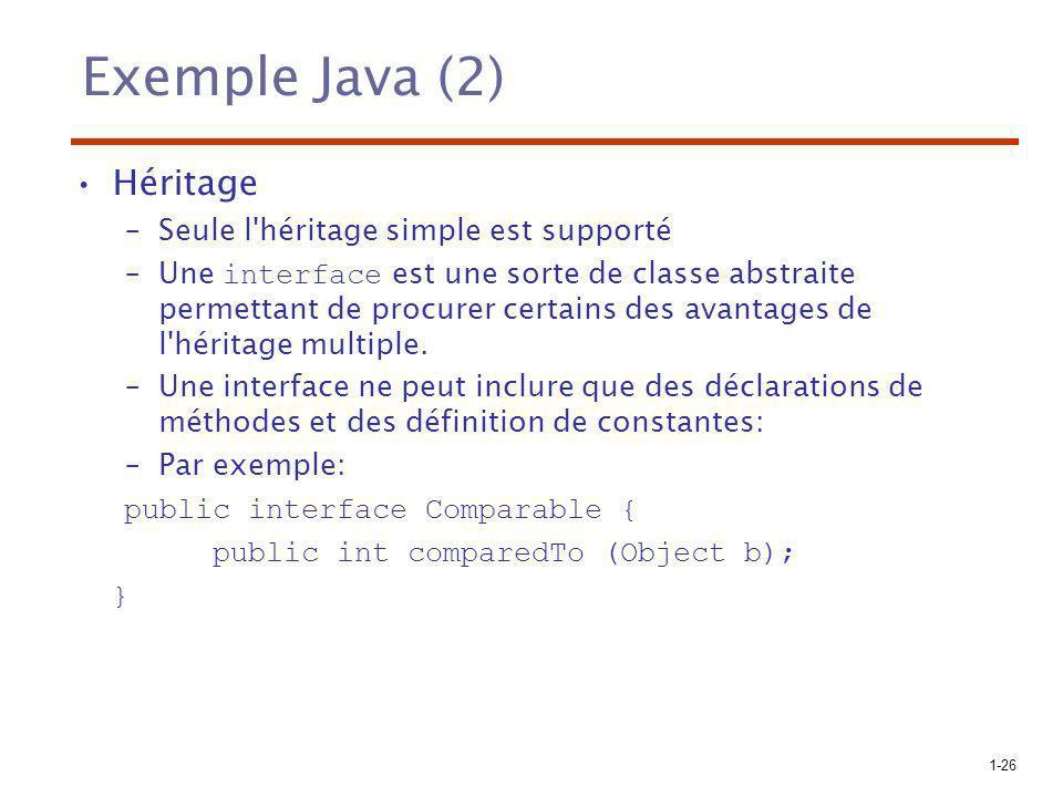 1-26 Exemple Java (2) Héritage –Seule l'héritage simple est supporté –Une interface est une sorte de classe abstraite permettant de procurer certains