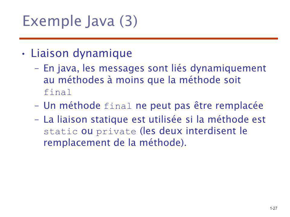 1-27 Exemple Java (3) Liaison dynamique –En java, les messages sont liés dynamiquement au méthodes à moins que la méthode soit final –Un méthode final