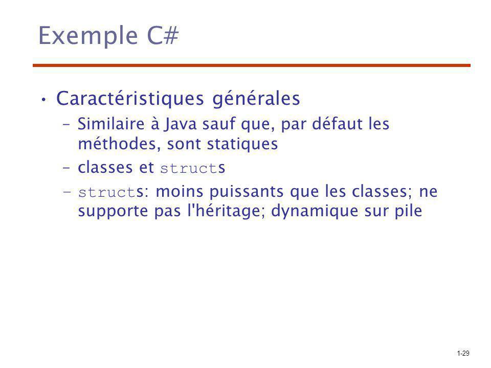 1-29 Exemple C# Caractéristiques générales –Similaire à Java sauf que, par défaut les méthodes, sont statiques –classes et struct s –struct s: moins p