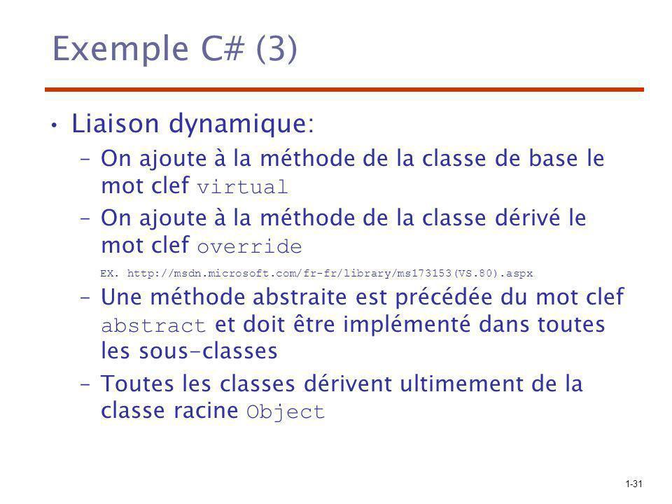 1-31 Exemple C# (3) Liaison dynamique: –On ajoute à la méthode de la classe de base le mot clef virtual –On ajoute à la méthode de la classe dérivé le