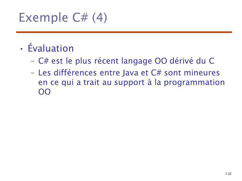 1-32 Exemple C# (4) Évaluation –C# est le plus récent langage OO dérivé du C –Les différences entre Java et C# sont mineures en ce qui a trait au supp