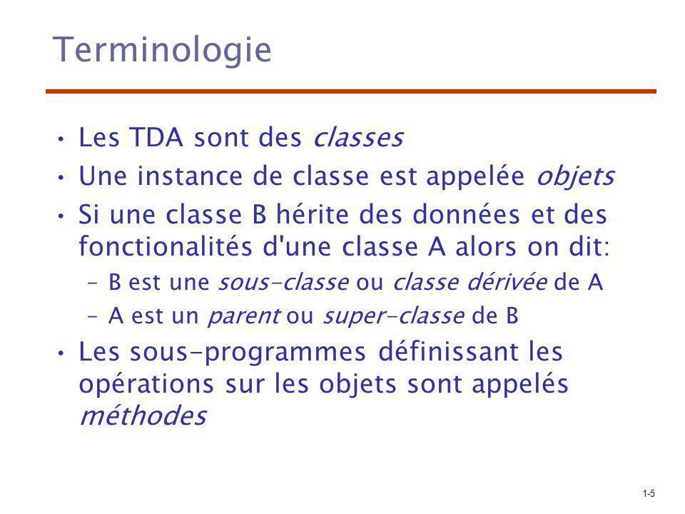 1-5 Terminologie Les TDA sont des classes Une instance de classe est appelée objets Si une classe B hérite des données et des fonctionalités d'une cla