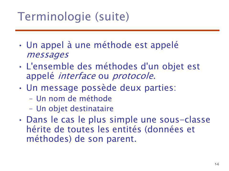 1-6 Terminologie (suite) Un appel à une méthode est appelé messages L'ensemble des méthodes d'un objet est appelé interface ou protocole. Un message p