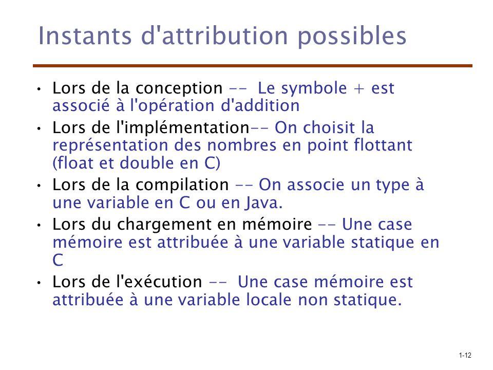 1-12 Instants d attribution possibles Lors de la conception -- Le symbole + est associé à l opération d addition Lors de l implémentation-- On choisit la représentation des nombres en point flottant (float et double en C) Lors de la compilation -- On associe un type à une variable en C ou en Java.
