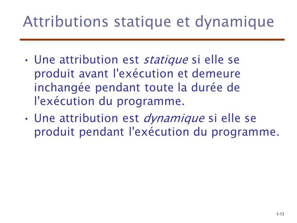 1-13 Attributions statique et dynamique Une attribution est statique si elle se produit avant l exécution et demeure inchangée pendant toute la durée de l exécution du programme.