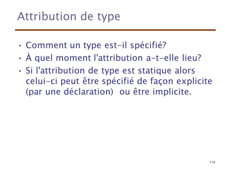 1-14 Attribution de type Comment un type est-il spécifié? À quel moment l'attribution a-t-elle lieu? Si l'attribution de type est statique alors celui