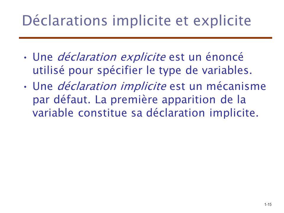 1-15 Déclarations implicite et explicite Une déclaration explicite est un énoncé utilisé pour spécifier le type de variables. Une déclaration implicit