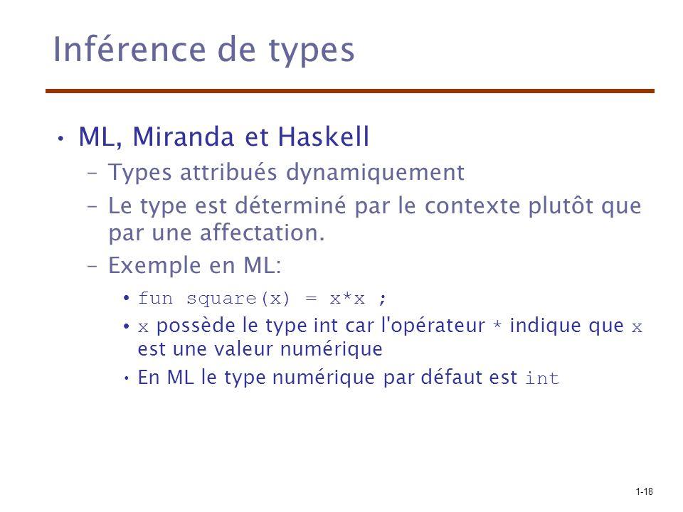 1-18 Inférence de types ML, Miranda et Haskell –Types attribués dynamiquement –Le type est déterminé par le contexte plutôt que par une affectation. –