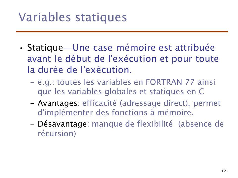 1-21 Variables statiques StatiqueUne case mémoire est attribuée avant le début de l'exécution et pour toute la durée de l'exécution. –e.g.: toutes les